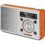 TechniSat Digitradio 1 Empfangsstarkes Radio (DAB+, UKW, Klein, Tragbar, Akku, Display, Küchenradio, Kofferradio Made in Germany), Silber-Orange