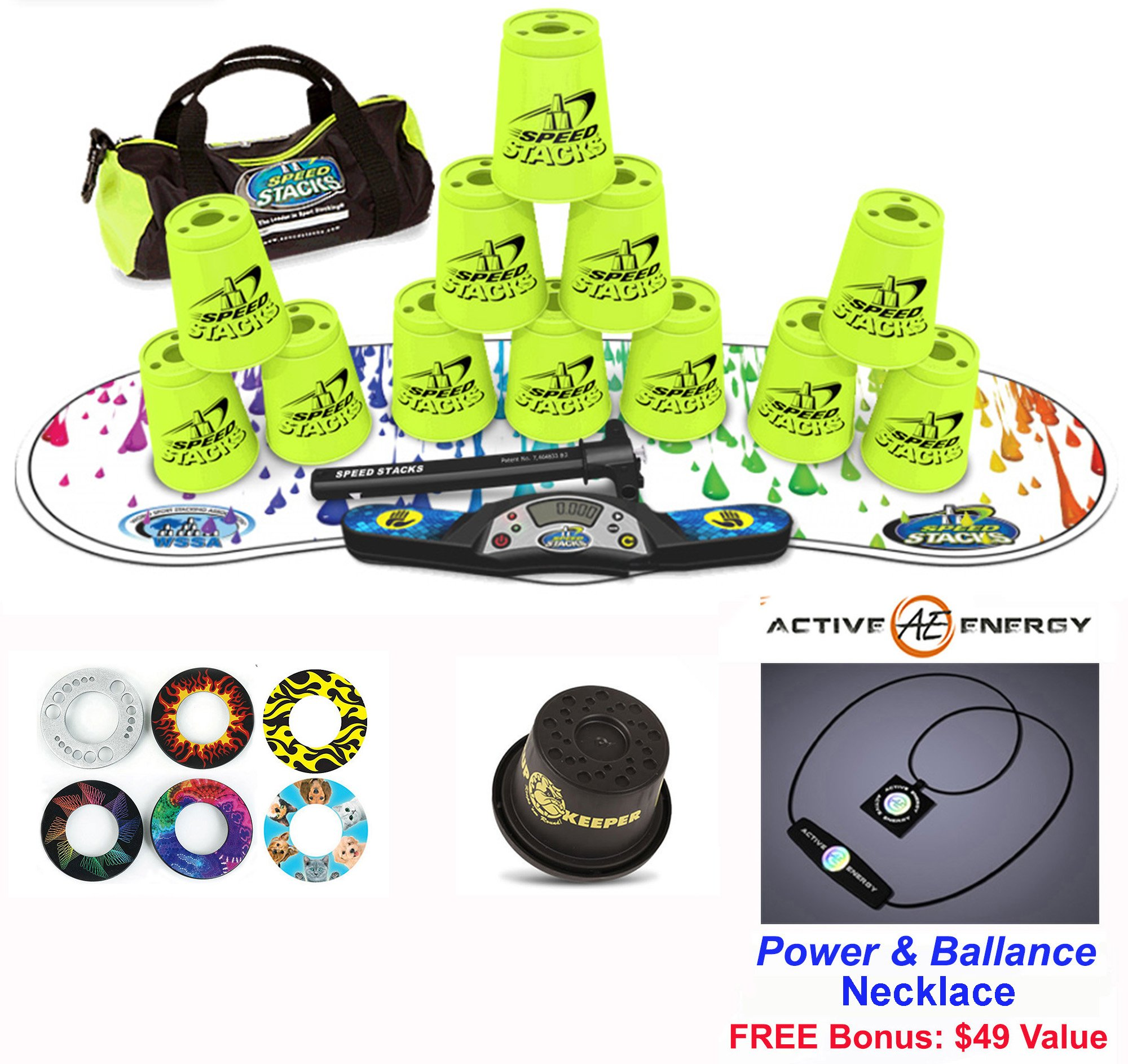 Speed Stacks Combo Set ''The Works'': 12 NEON YELLOW 4'' Cups, RAINBOW DROP Gen 3 Mat, G4 Pro Timer, Cup Keeper, Stem, Gear Bag + Active Energy Necklace by Speed Stacks