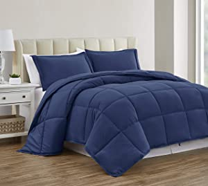 Sharry HOME LINEN Down Alternative Queen Comforter Set - Duvet Insert with Tabs -All Season-Ultra Soft(Imperial Blue,Queen)