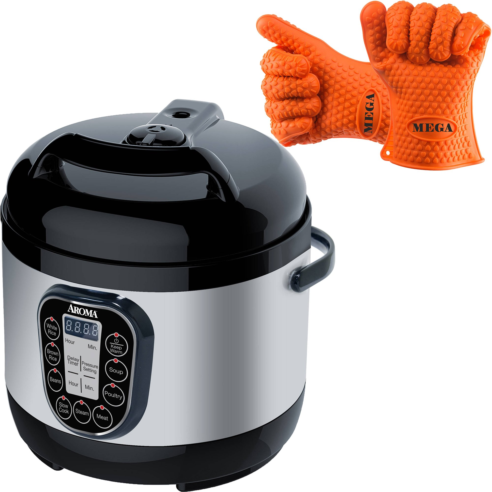 Aroma Housewares 8 Cup Programmable Digital Cool Touch Turbo Rice and Pressure Cooker, Silver with Heat Resistant Silicone Gloves by Aroma Housewares