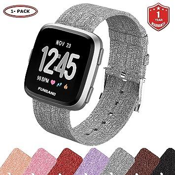 FunBand Fitbit Versa Correa Tejida, Edición Correa de Repuesto para Mujeres Hombres de Liberación Rápida Correa para Fitbit Versa Reloj Inteligente: ...