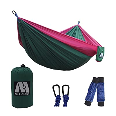 MH ZONE Camping Hammock, Best Lightweight Double Portable Nylon Parachute Backpacking Hammock with Hammock Tree Straps for Travel, Beach or Camping. 118 Inch(L) x 78 Inch(W)(Dark Green&Purple): Sports & Outdoors