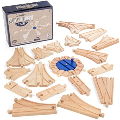 Switch Track Wooden Train Set (18 pcs.) - 8 Way Turntable Rail Station Accessory, Curved Switch Tracks, Basic and Advanced Pieces - Expansion Compatible with All Major Classic Toy Train Hobby Brands: Toys & Games