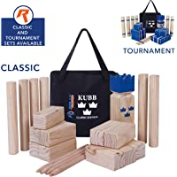 Kubb Game Set Classic or Tournament Size by Rally & Roar - Fun, Interactive Outdoor Family Yard Games - Durable Hardwood Blocks with Travel Bag - for Outside, Lawn, Bars, Backyards
