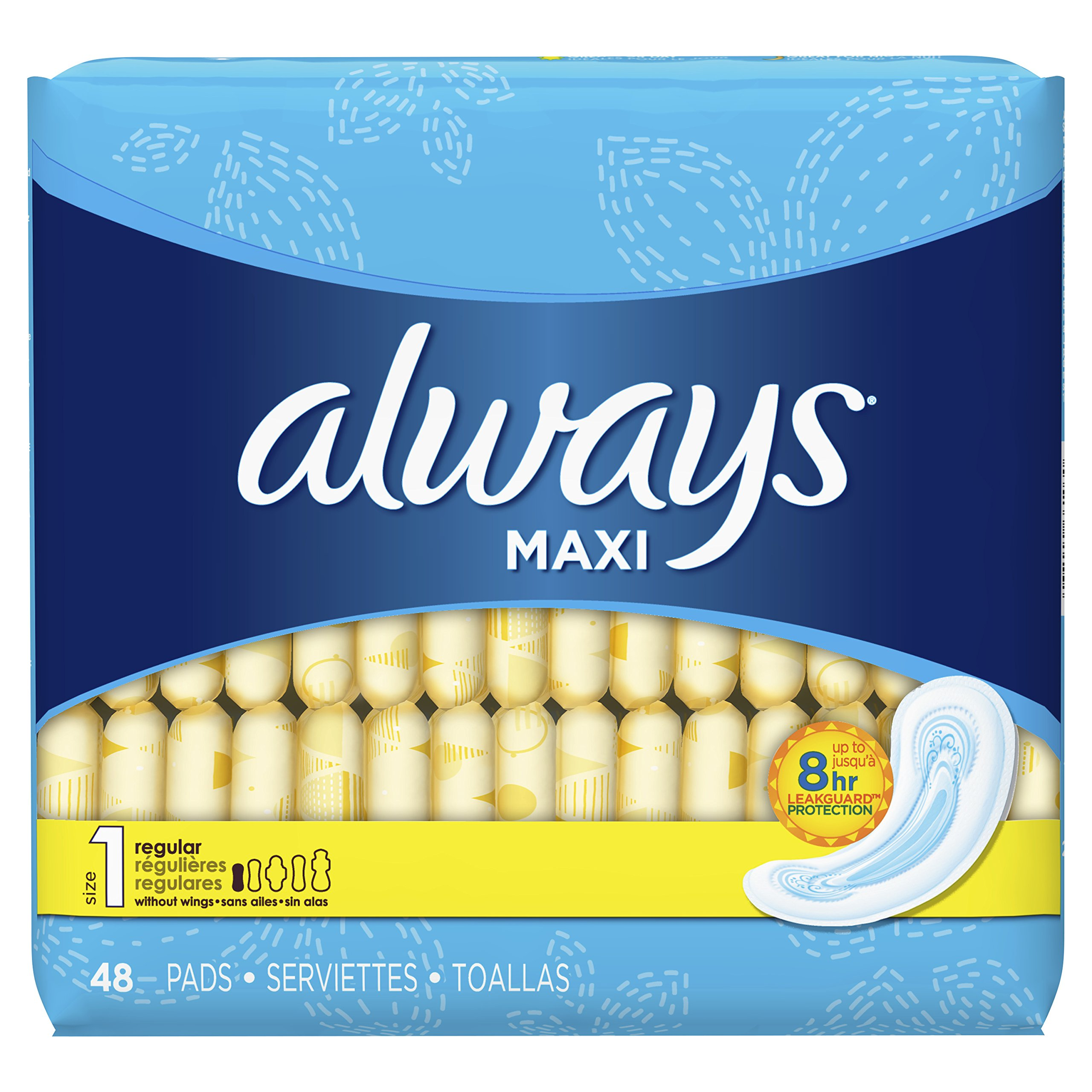 Always Maxi Size 1 Regular Feminine Pads without Wings, 48 Count - Pack of 6 (288 Total Count) (Package May Vary)