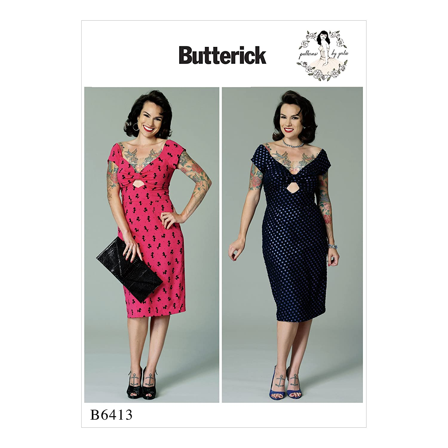 1950s Sewing Patterns- Dresses, Skirts, Tops, Pants Butterick B6413 A5 Misses Gathered-Front Keyhole Dress Pattern by Gertie Size 6-8-10-12-14 $13.51 AT vintagedancer.com
