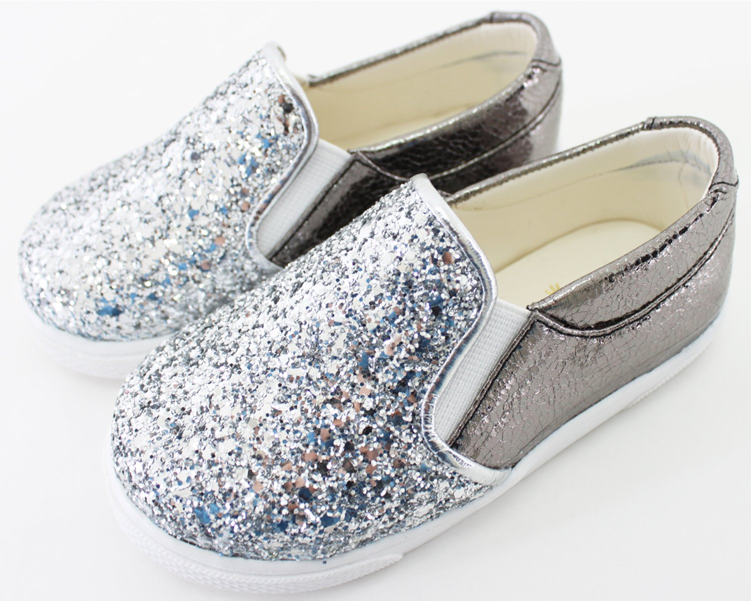 Milky Walk Boys Girls Glitter Slip On Shoes (7 M US Toddler, Silver) by Milky Walk (Image #6)