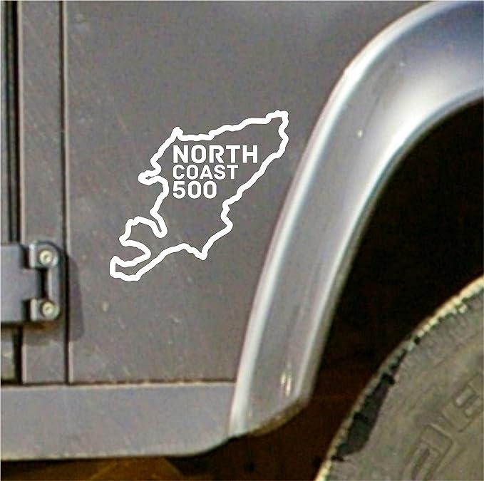 2 x 10cm North Coast 500 Route Vinyl Sticker Decal Scotland Scottish Flag #9686