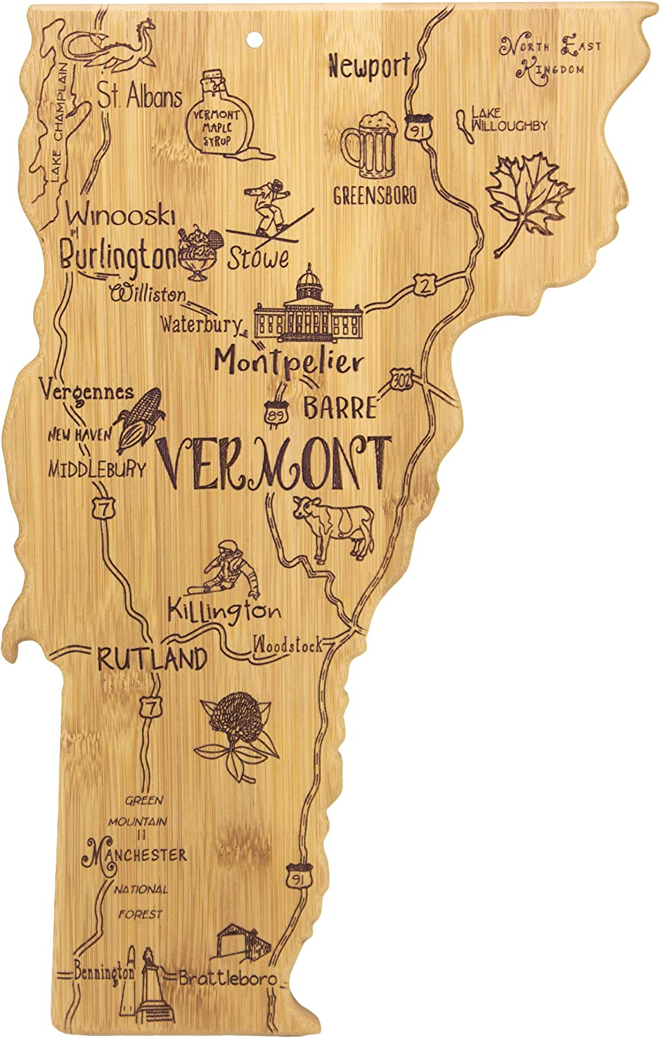 Totally Bamboo Vermont State Destination Bamboo Serving and Cutting Board