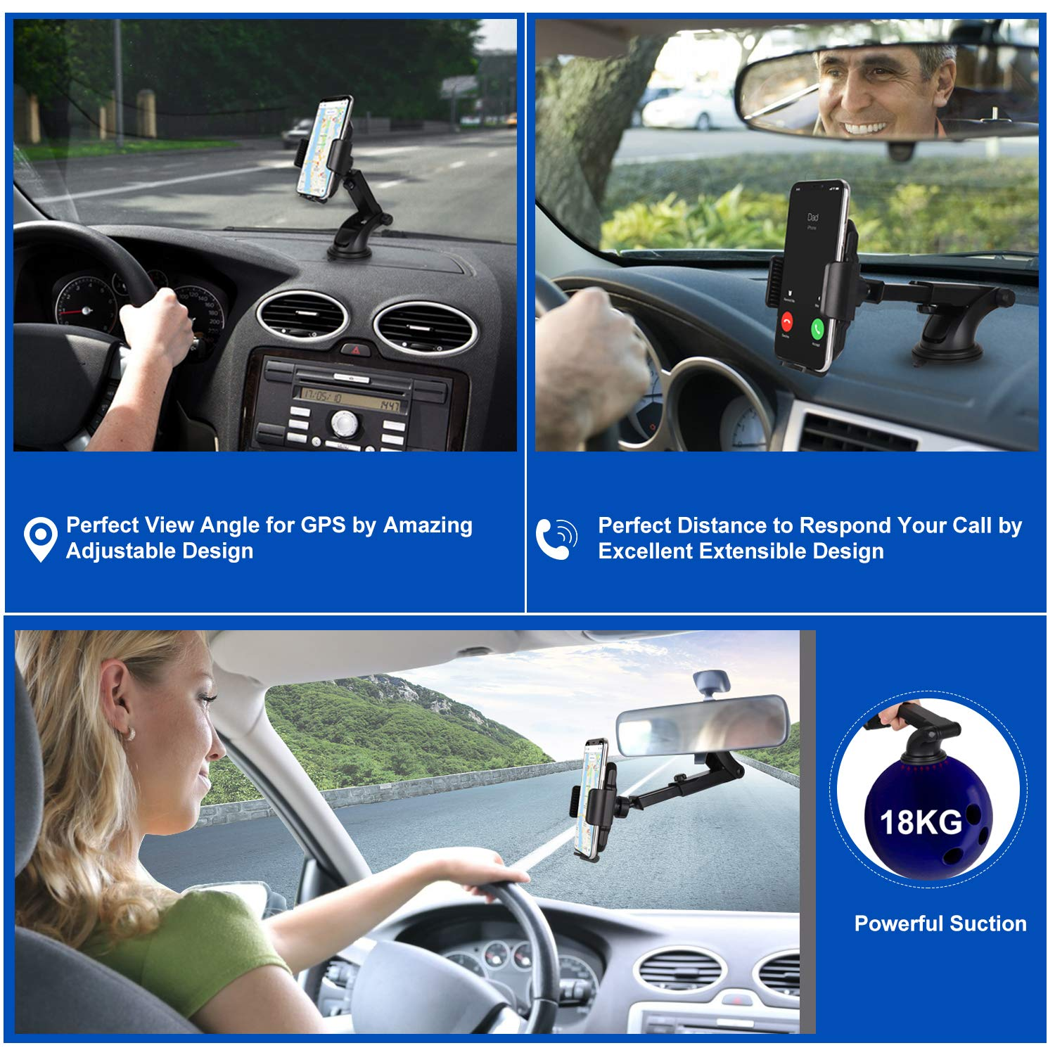 Dashboard Cell Phone Holder Car Phone Mount Strong Suction Cup Phone Holder Extensible /& Adjustable Windshield Phone Mount for 3.5-7 Device iPhone X//8//8Plus//7//7Plus//6s//6Plus//5S Galaxy S9//S8//S7/… Mateplus