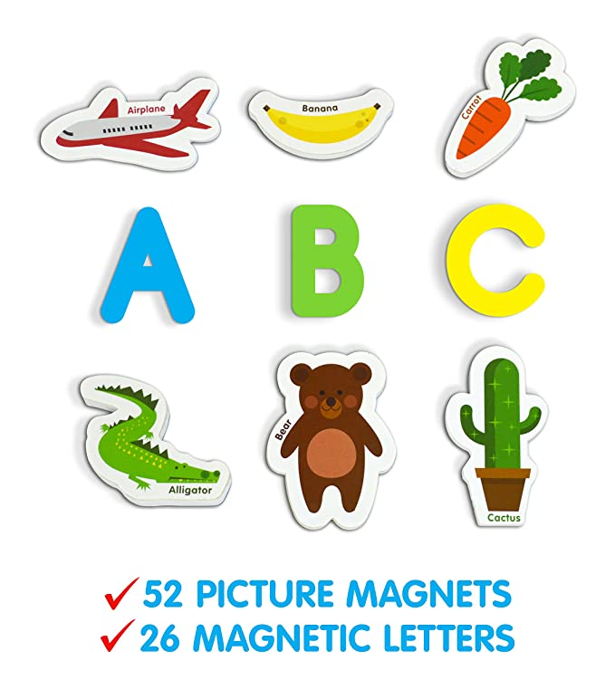 Amazon Curious Columbus Magnetic Objects Letters Set Of 52 Foam Picture Magnets Plus 26 Uppercase Alphabet From A Z