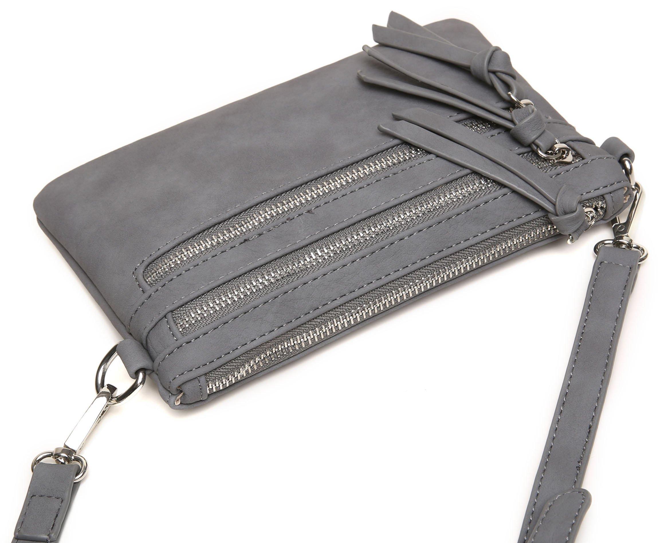 Aitbags Multi-Zipper Pocket Crossbody Handbag Lightweight Purse Functional Clutch with Wristlet by Aitbags (Image #4)