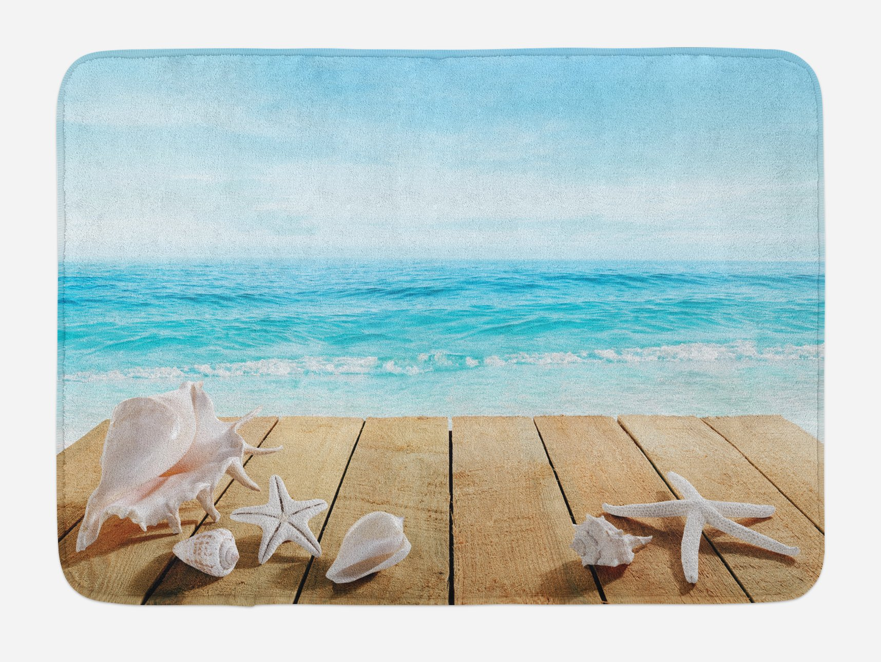 Ambesonne Seashells Bath Mat, Wooden Boardwald with Seashells Sunshine Vacations Beach Theme, Plush Bathroom Decor Mat with Non Slip Backing, 29.5 W X 17.5 W Inches, Sand BrownPale Brown Beige