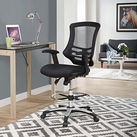 Modway Eei 3043 Blk Calibrate Mesh Drafting Black Tall Office Chair For Adjustable Standing Desks