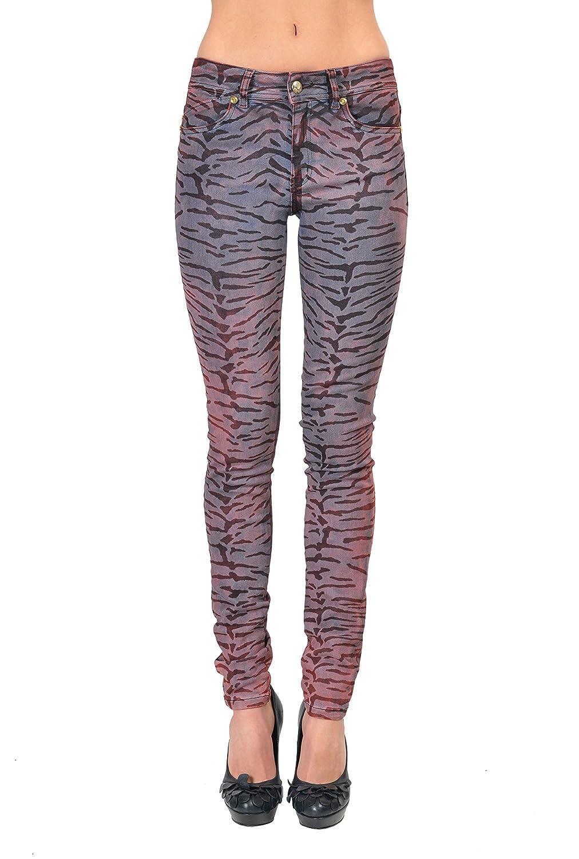"""Just Cavalli """"Luxury"""" Women's Multi-Color Animal Print Skinny Leg Jeans US 4 IT 26"""