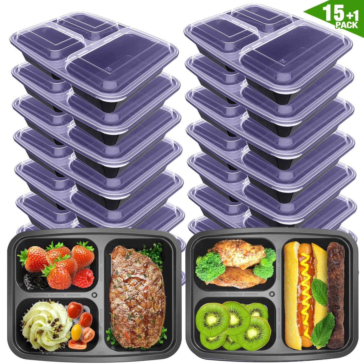 Meal Prep Containers 3 Compartment with Lids BPA Free Food Storage Bento Style Lunch Boxes for Portion Control ,Microwaveable /Reusable /Freezer & Dishwasher Safe 16 Pack[15+1 ] 36 oz