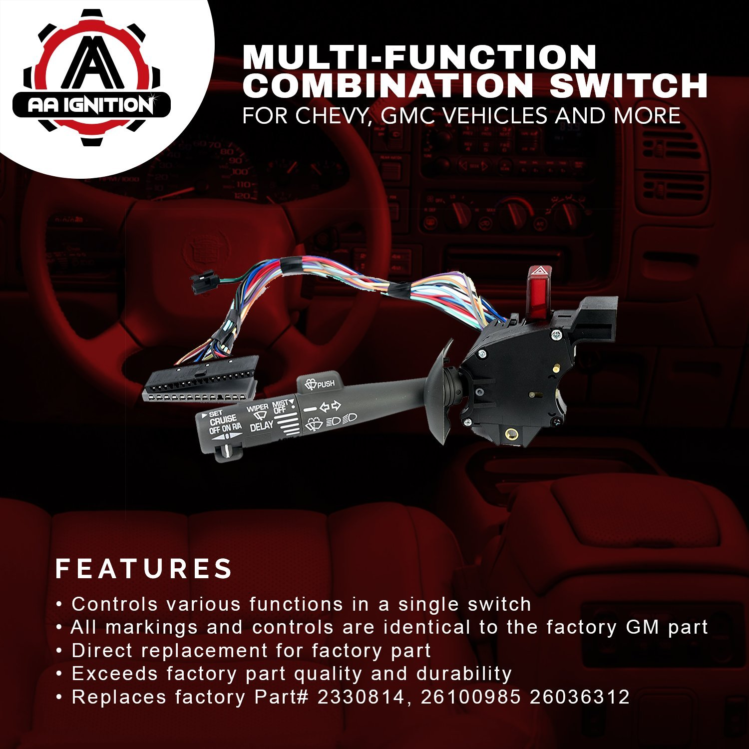 Multi Function Combination Switch Turn Signal Wiper 2000 Chevy 3500 Hazard Wiring Diagram Cruise Control Replaces Part 2330814 26100985 26036312 Fits Tahoe Blazer Suburban K1500 Sierra More Automotive
