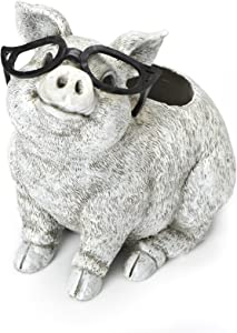 Roman Exclusive White Pig Wearing Silly Black Spectacles Planter, 9.5-Inch, Made of Dolomite/Resin