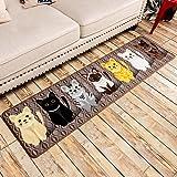 SimpleLife4U Fashion Cats Non-Slip Machine Washable Kitchen Rug Home Decor Bedroom Floor Comfort Mat 15x59 Inch
