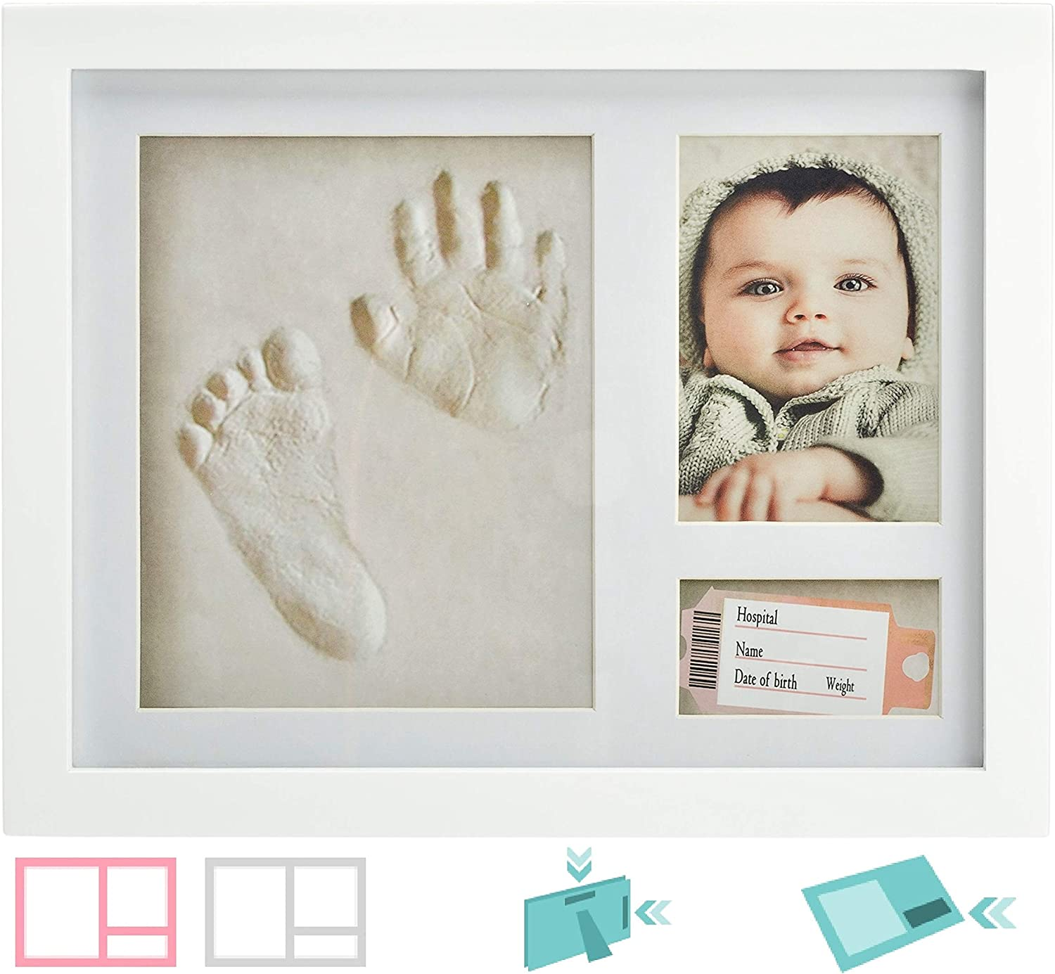 Perfect Baby Boy Baby Girl Gift Baby Handprint and Footprint Kit Wrist Tag | 3-in-1 Mini Hair Bow Nursery Footprint Kit For Baby Shower and Baby Registry Unique Design Extra Pocket For Keepsake