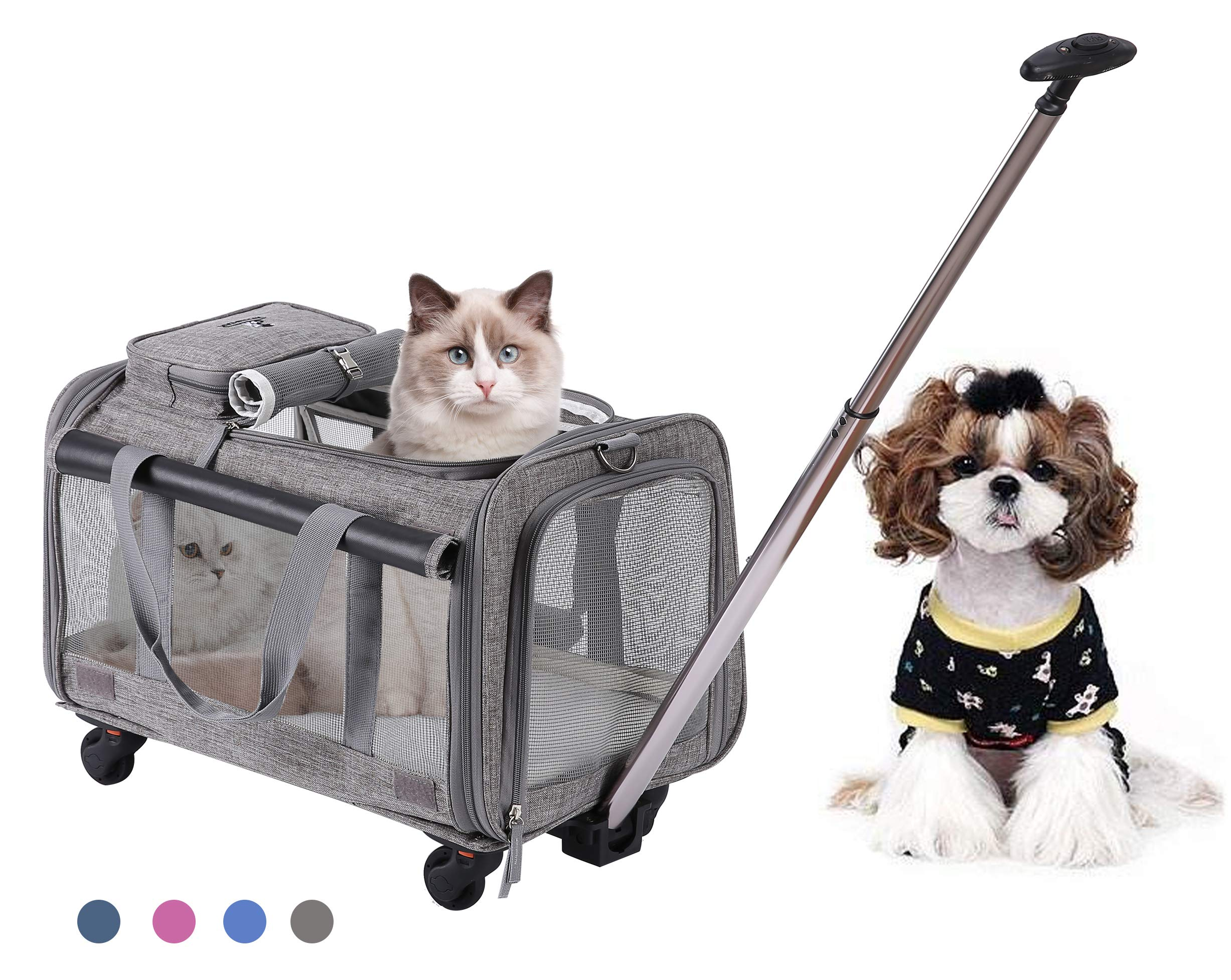 MOVEPEAK Folding Pets Carrier with Wheel, Luxury Pet Bag Strollers with Comfortable Fleece Mat for Travel, Hiking,Camping, Designed for Cats, Dogs, Kittens, Puppies, 360° Swivel Mute Wheels (Grey)