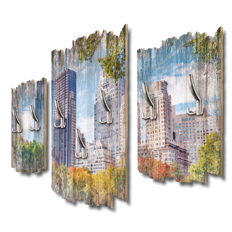 Kreative Feder New York Central Park Designer Wandgarderobe Flurgarderobe Wandpaneele 95 x 60 cm aus MDF DTGH080