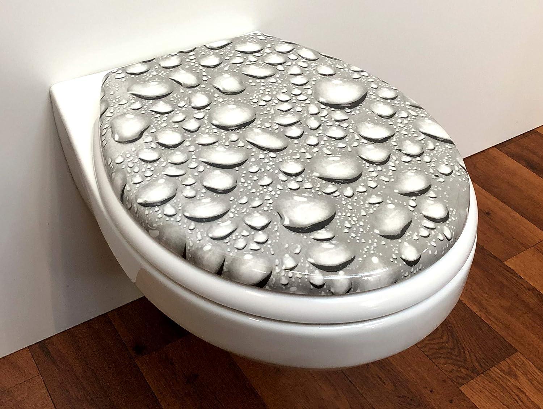 """soft close, descente progression Si/ège toilette duroplast mod/èle goutte deau/"""" avec abattant automatique amovible pour le nettoyage"""
