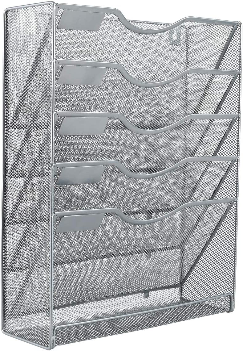 EasyPAG Mesh Wall File Holder 5 Tier Vertical Mount Hanging Organizer with Bottom Flat Tray,Silver