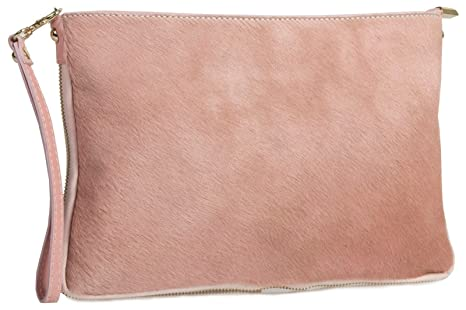 Image Unavailable. Image not available for. Colour  Big Handbag Shop Small  Genuine Leather with Calf Fur Zip Clutch Shoulder Bag (Baby Pink 557880cfdbf82