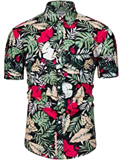 Xswsy XG Mens Linen Cotton Plus-Size Digital Printed Button Down Dress Work Shirt