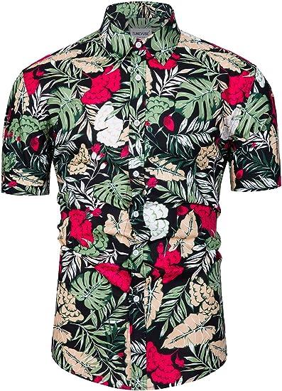 fohemr Camisa de Manga Corta con Botones para Hombre, diseño de Flores Estampado Camisas Hawaianas Hombre Algodon: Amazon.es: Ropa y accesorios