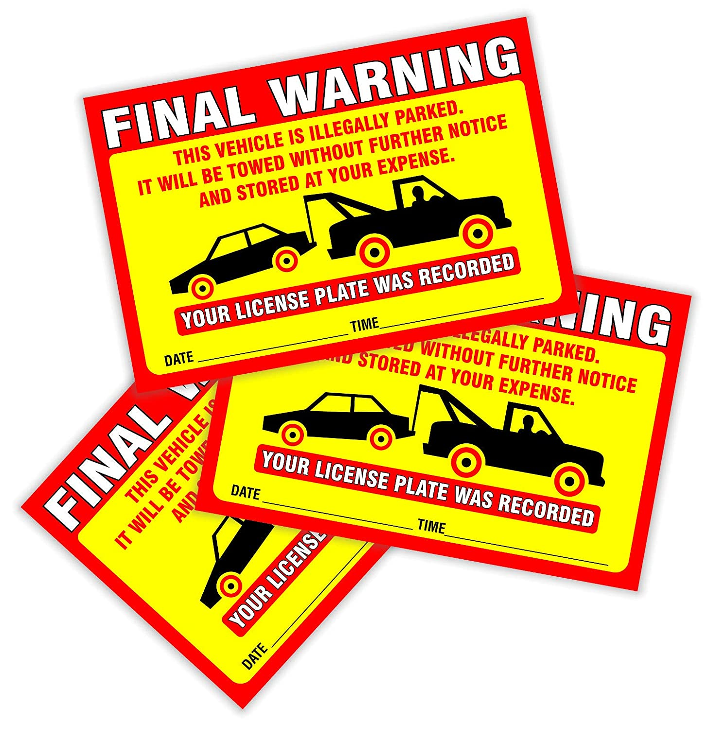 Large Size 6 X 9 Parking Violation Notice Vehicle is Illegally Parked Pack of 50 Yellow Final Warning Stickers