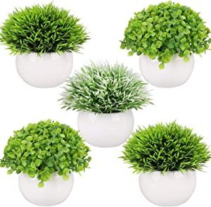 Summer Flower 5 Pack Artificial Plants in Pots for Home Decor Indoor Bathroom/Office,2 Fake Plants Green Boxwood Potted,3 Grass Faxu Plants in White Pot for Bookshelf Bedroom Kitchen Farmhouse Decor