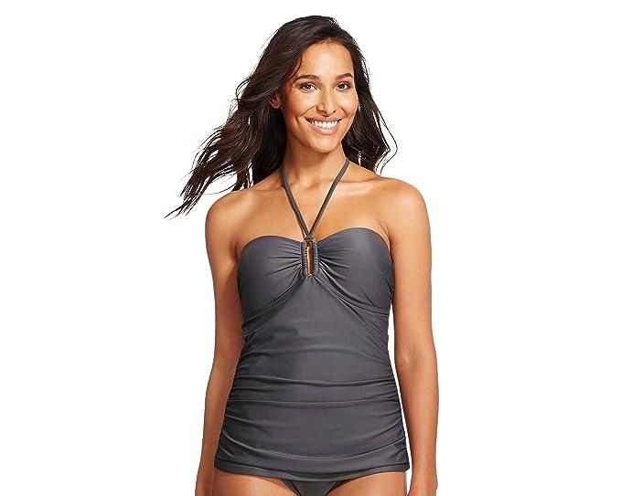 0bbf46755cca6 Merona Women's Shirred Center Halter Swim Tankini Top (X-Small, Grey ...