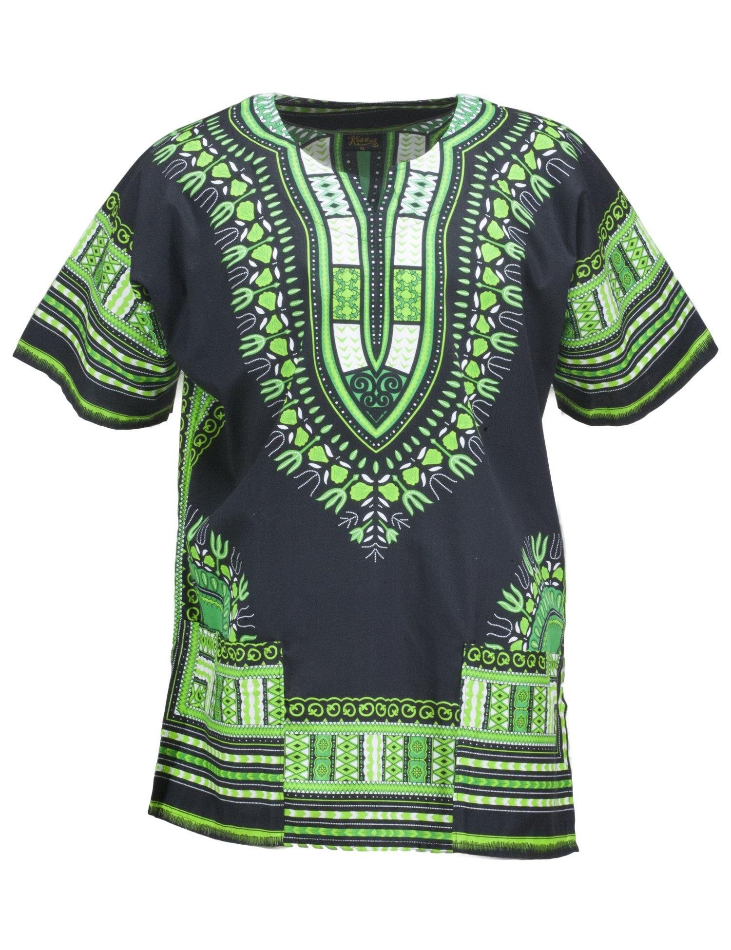 KlubKool Dashiki Shirt Tribal African Caftan Boho Unisex Top Shirt (Black/Green,Large)