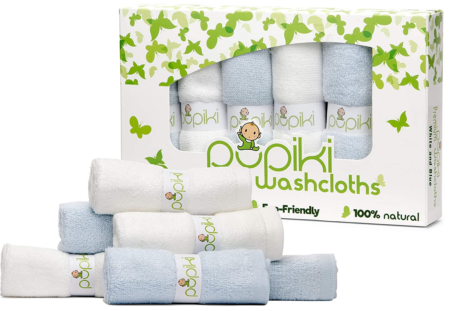Pupiki Premium Baby Washcloths Organic Bamboo 6 Ultra-Soft Hypoallergenic for Baby Bath Washcloth Face Towels Absorbent 10X10 Newborn Towel Pack from Rayon Fiber Unisex Baby Shower Gift White & Blue