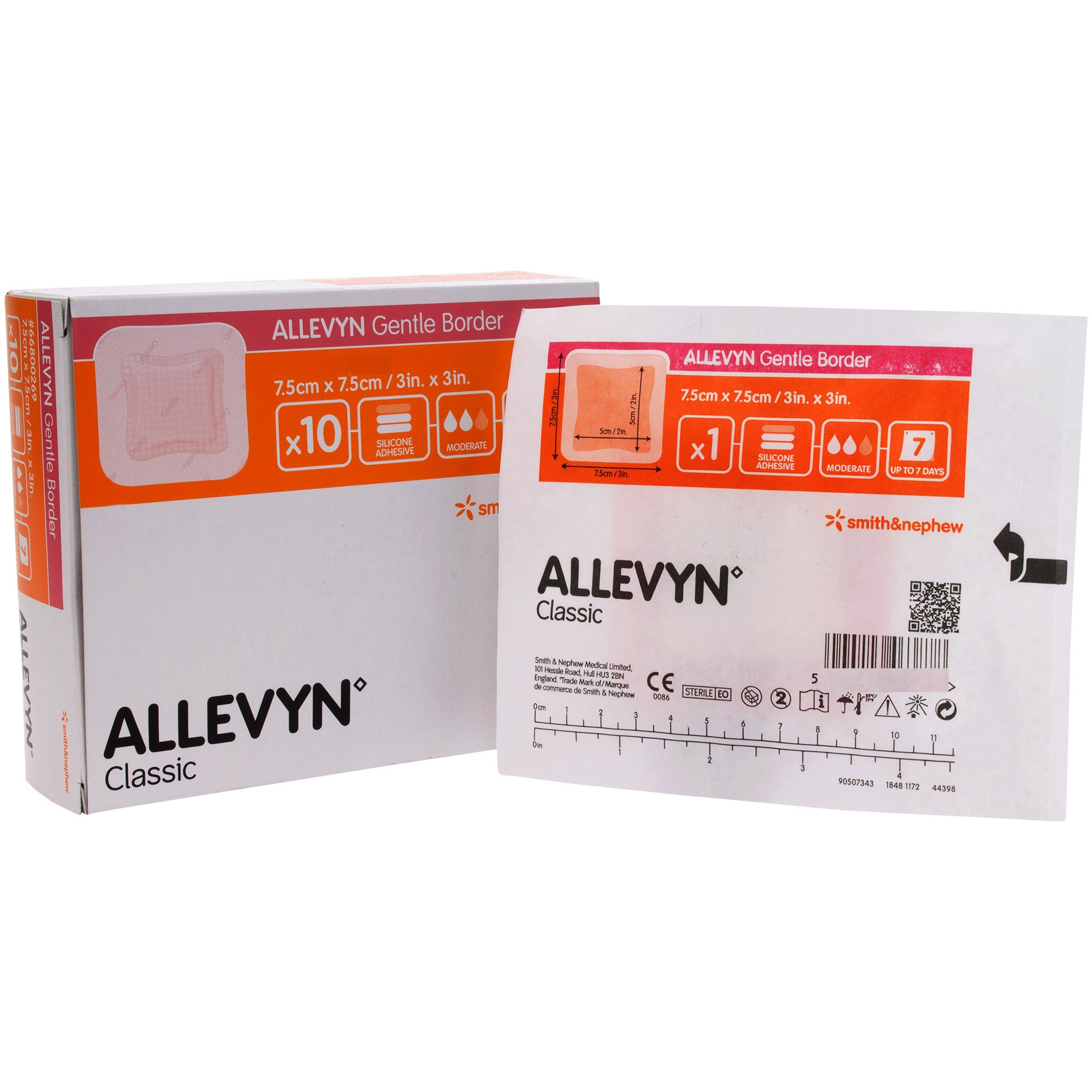 Smith and Nephew 66800276 Allevyn Gentle Border Dressing 3'' x 3'' - Box of 10