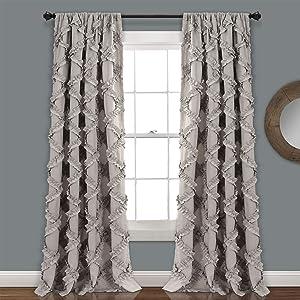 "Lush Decor, Gray Ruffle Diamond Curtains Textured Window Panel Set for Living, Dining Room, Bedroom (Pair), 95"" x 54, 95"