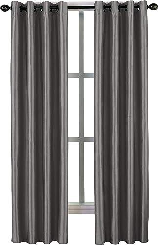 Curtainworks Malta Faux Silk Grommet Curtain Panel, 50 by 144 , Pewter