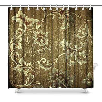 Captivating InterestPrint Luxury Green Floral Damask Bathroom Decor Shower Curtain Set  With Hooks, 72 Inches Long