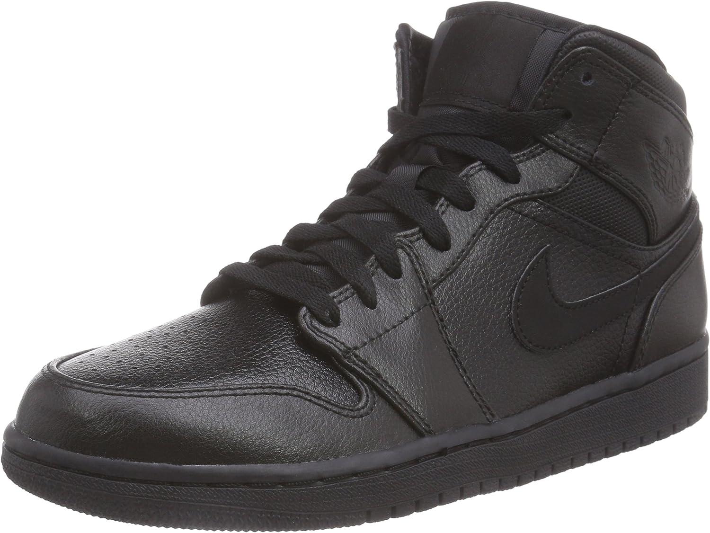 Amazon.com | Nike Jordan Mens Air Jordan 1 Mid Black/Black/Black ...