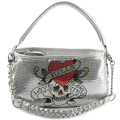 Amazon.com  Ed Hardy Love Kills Slowly Agnes Hobo Bag - Silver  Shoes 9e8655aa01610