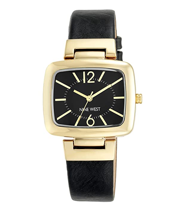 Nine West Women's NW/1840BKBK Gold-Tone and Black Strap Watch
