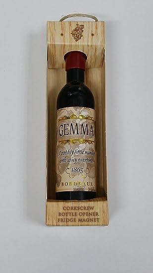 Sacacochos y abridor con imán en forma de botella de vino, decorado con nombre Gemma: Amazon.es: Jardín