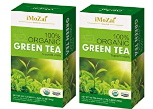 Imozai Organic Green Tea Bags 100 Count Individually Wrapped (Pack of 2)