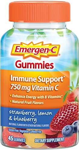 Emergen-C 750mg Vitamin C Gummies for Adults, Immune Support Gummies, Gluten Free, Strawberry, Lemon and Blueberry Flavors – 45 Count