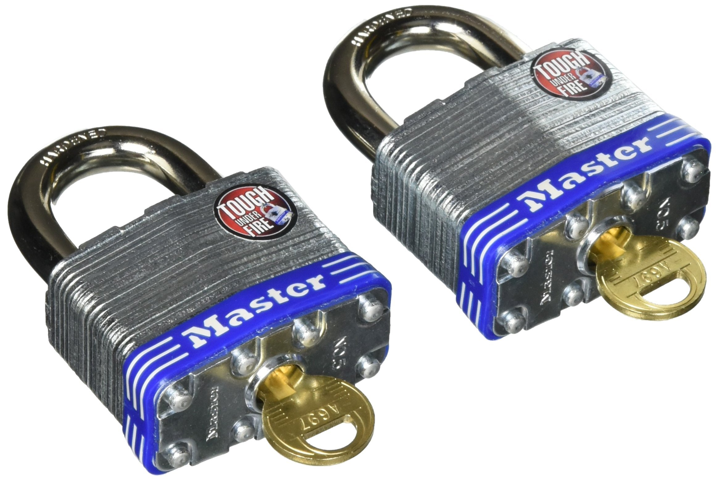 Master Lock Padlock, Laminated Steel Lock, 2 in. Wide,  5T (Pack of 2-Keyed Alike)