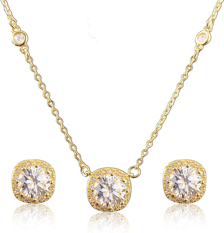 Long drop Dangle Earrings Teardrop Rhinestones Pendant necklace Bridal Wedding Gold Crystal Necklace and Earring Jewellery set