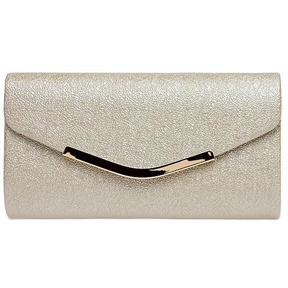 507dcdef63 CASPAR TA370 Sac à main clutch enveloppe élégant pour femme - Pochette de  soirée avec longue chaînette, Couleur:champagne;Größe:One Size: Amazon.fr:  ...