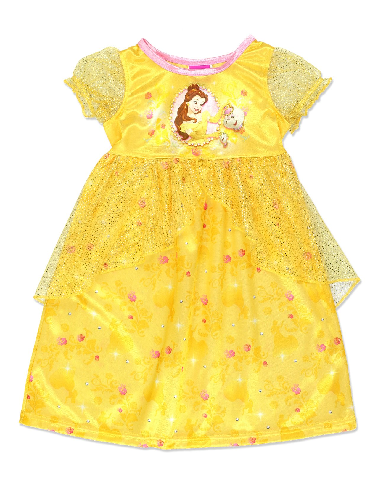 Disney Princess Belle Girls Fantasy Gown Nightgown (2T, Yellow/Multi)